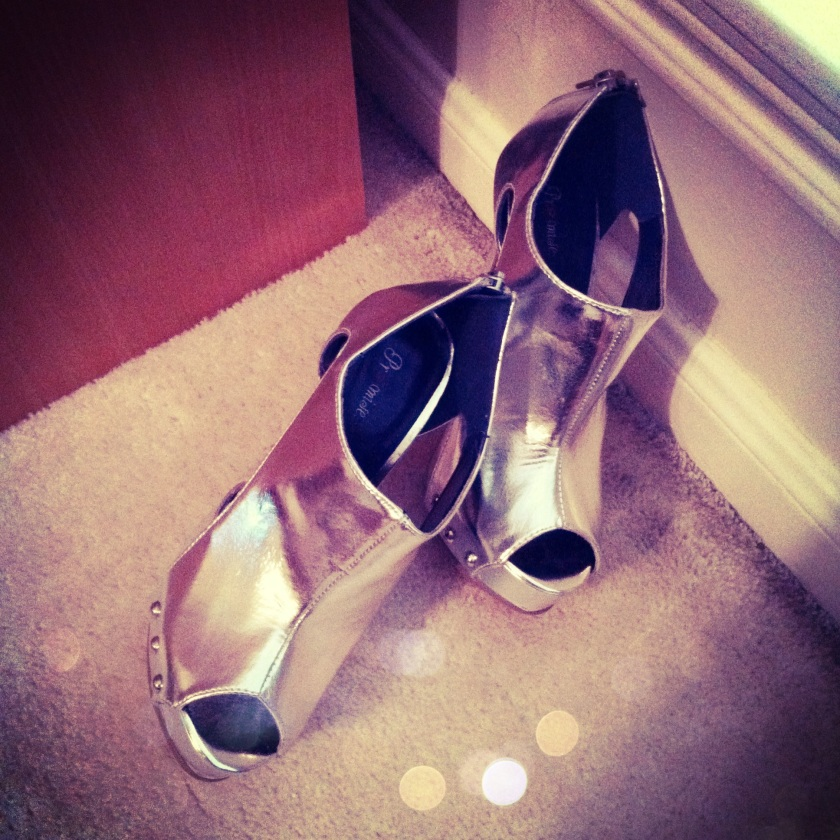 Princess Of The Universe Metallic Silver Patent Peep-Toe Heels