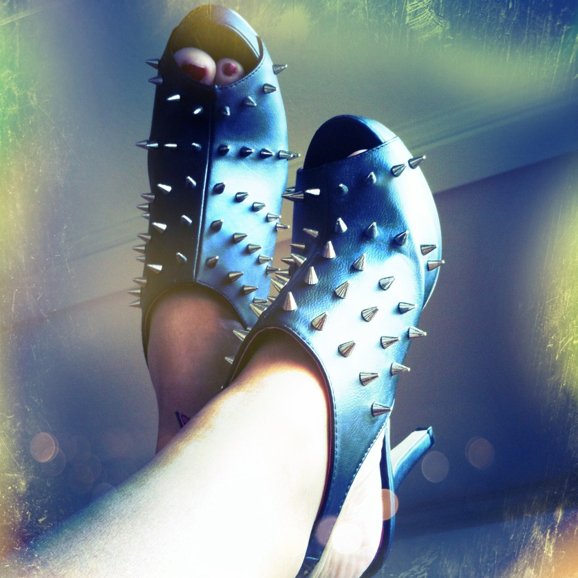 Black Slingbacks With Silver Spikes & Skulls