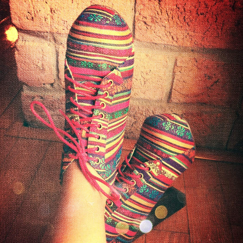 Mod A La Twiggy Print & Colour Rainbow Laced-Up Booties