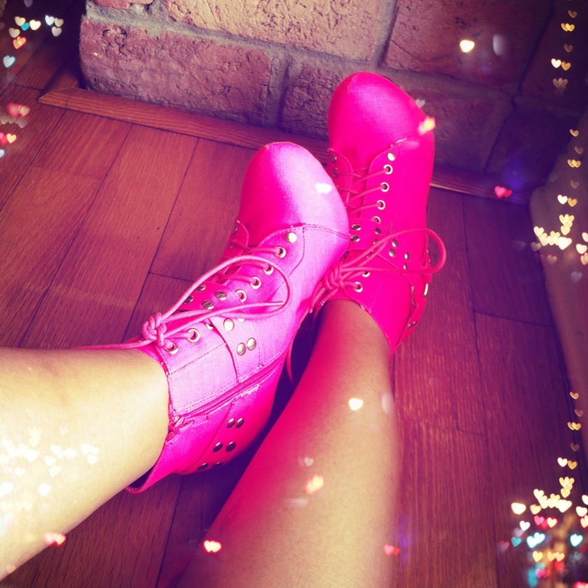 Neon Pink Laced-Up Booties With Buckles & Studs