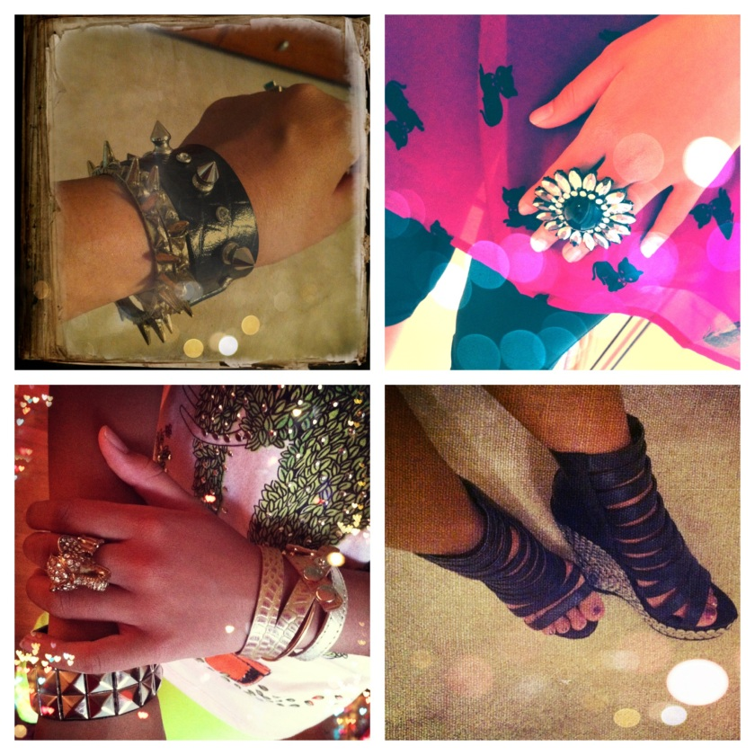 Clockwise - Array of spiked cuffs (it's almost as though I'm obsessed, isn't it?), Ginormous Flower Ring, one of my fave pairs Gladiator Booties With Thumbtacks, and Pachyderm Ring + Snakeskin Bracelets + Barbarella Cuff