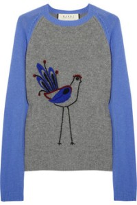 Marni Bird Embroidered Wool & Cashmere Sweater