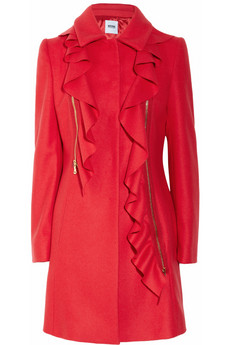 Moschino Cheap & Chic Ruffled Wool & Cashmere Coat