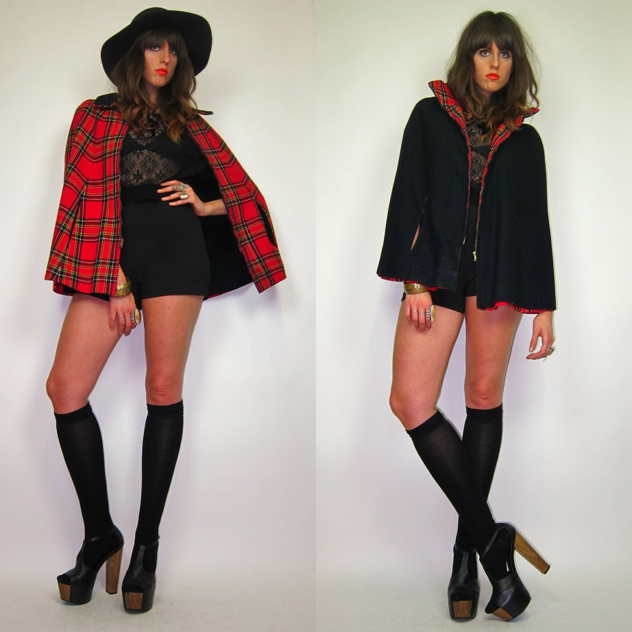 60's Mod Plaid Red and Black REVERSIBLE Cape Preppy School Girl Cloak