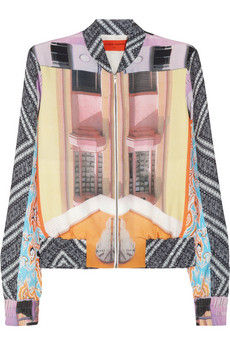 Clover Canyon Printed Crepe de Chine Bomber Jacket
