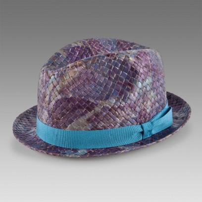 Paul Smith Purple Hawaiian Print Straw Trilby Hat
