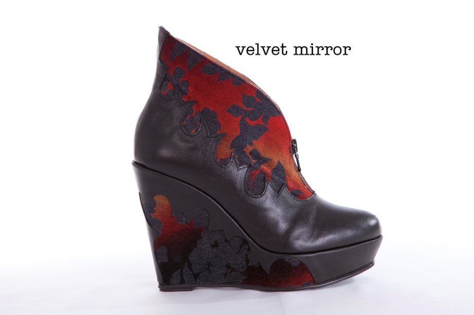 Velvet Mirror Wedge Booties