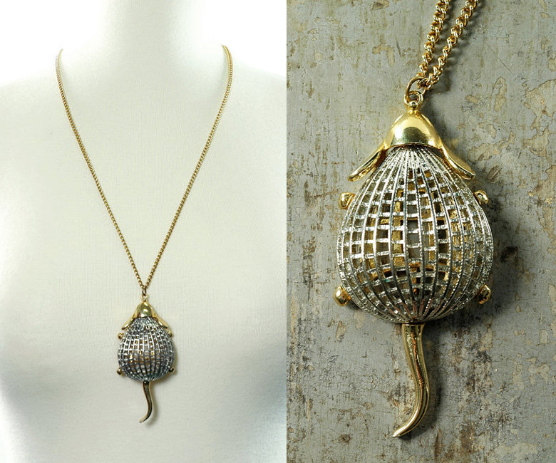 Vintage 60s GOLD and SILVER Mouse Pendant Necklace