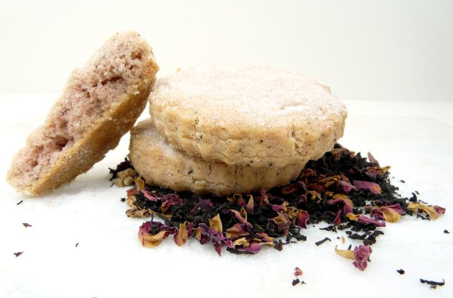 Earl Grey Tea with Roses Shortbread Cookies